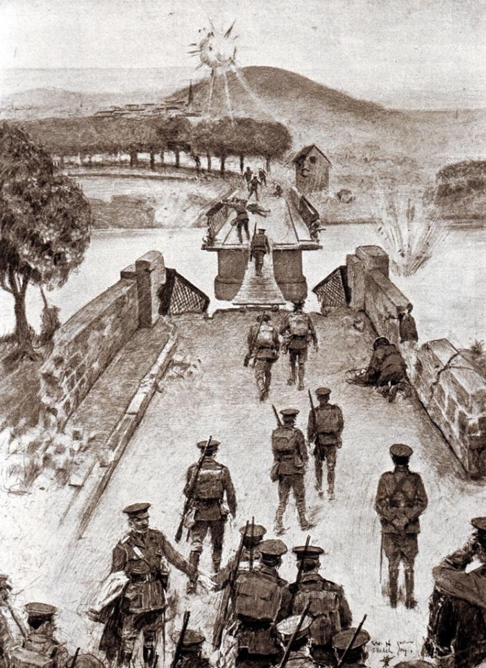 8th-Brigade-crossing-demolished-bridge-at-Vaillybbb