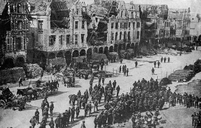 Arras-after-German-bombardment