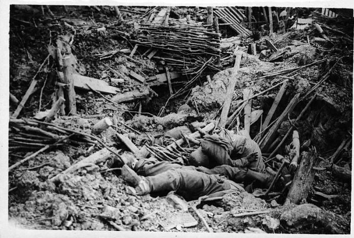 NLS_Haig_-_Smashed_up_German_trench_on_Messines_Ridge_with_dead