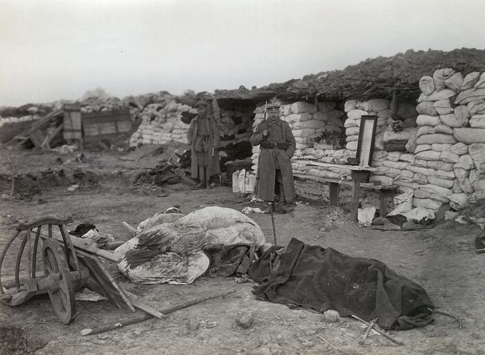 British wounded in German trenches near Neuve Chapelle