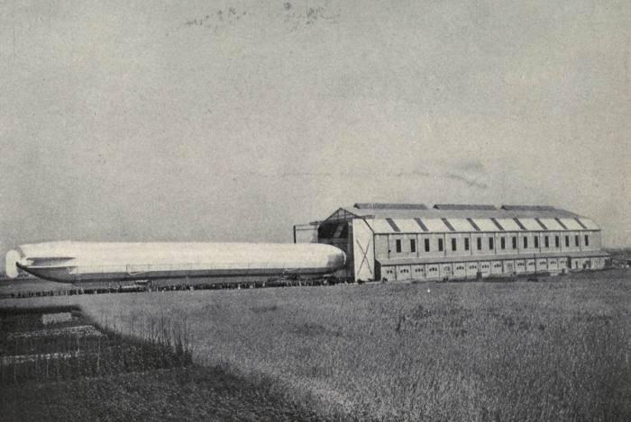 German airship entering a hangar