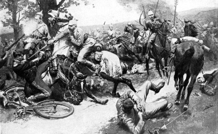 French cavalry attacking German troops