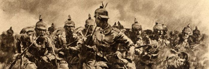 German officer leads his troops in an Attack