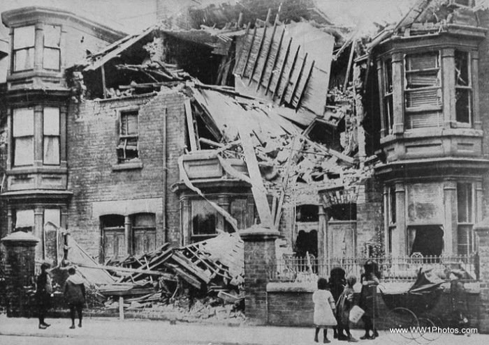 A House In Cleveland Road Hartlepool Wrecked By Shells