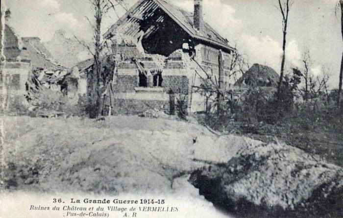 Vermelles ruines chateau ww1