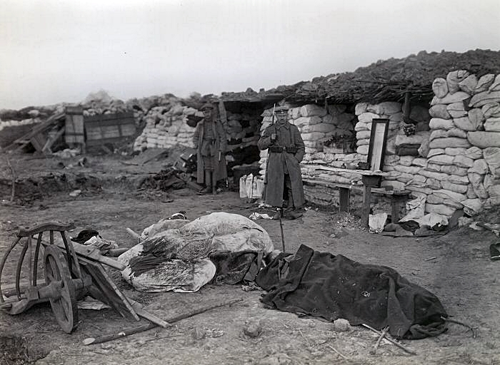 British wounded in German trenches near Neuve Chapelle.jpg