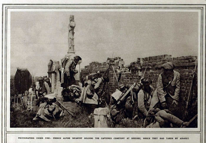 French Alpine Infantry Holding the Captured Cemetery at Souchez