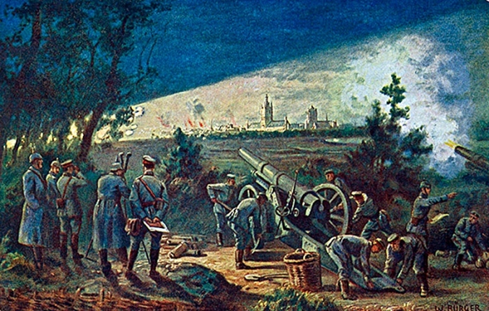 The bombardment of Ypres by German artillery in a postcard of 1915.jpg