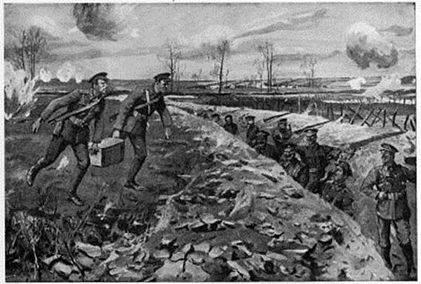 Privates Martin and Burrell bringing ammunition across open ground under heavy shellfire.jpg