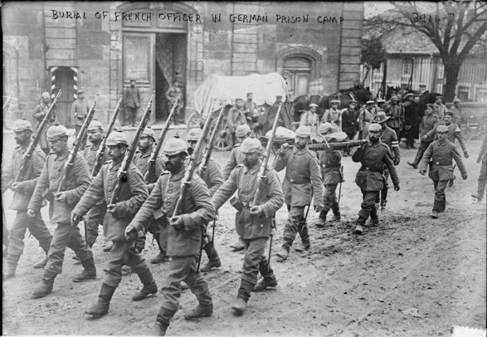 Burial of French Officer in WWI German Prison Camp