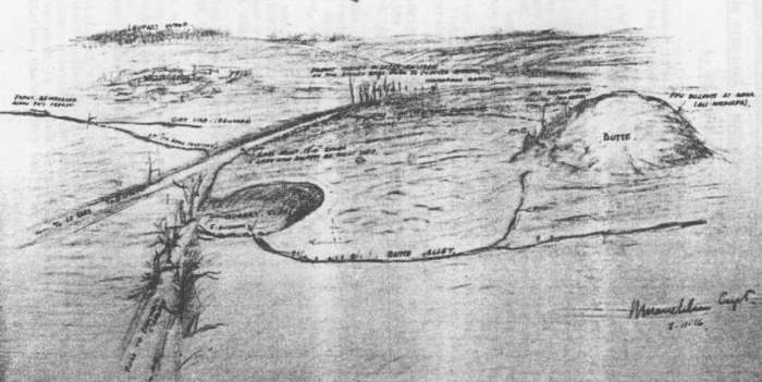 Butte de Warlencourt - map