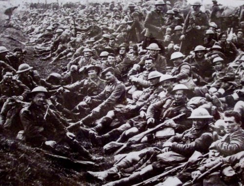 28a Delville Wood  4th South African Infantry Regiment take a rest along a road