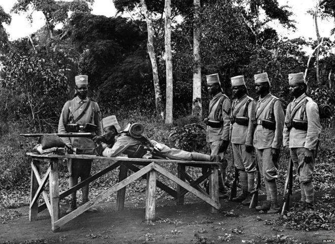 29.8c Askaris practice shooting World War I Tanzania