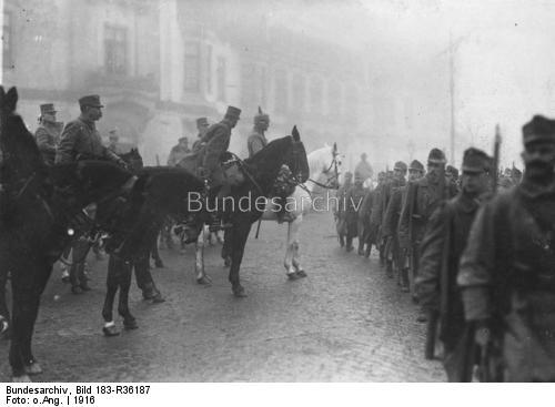 20.9aab German Field Marshal August von Mackensen inspects a parade of Austro-Hungarian troops in Bucharest