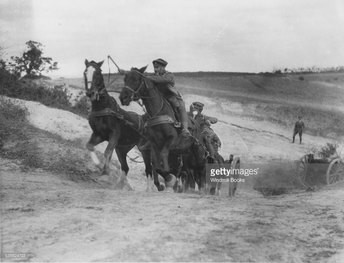 Struma Front, November, 1916. An Artillery team taking a bank.