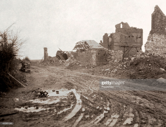 The ruins of Gonnelieu on the Western Front during World War One, circa 1918. The Western Front was a meandering line of fortified trenches extending from the North Sea to the Swiss border with France.  Its front lines remained virtually unchanged for most of the duration of the war.  From 1915 to 1917 there were several major offensives along the Front, namely the Battles of Verdun, the Somme and Passchendaele, but, despite the loss of nearly two and a half million lives in these conflicts alone, no signficant advances were made.  It wasn't until their Spring Offensive of 1918 that the Germans were able to progress westward by nearly 100 kilometres which very nearly succeeded in making a breakthrough, but the consistent advance of the Allied armies soon after resulted in the defeat of the Central Powers and the Treaty of Versailles in 1919.  In total, conflicts along the Western Front from 1914 to 1918 resulted in nearly 8 million casualties of war. This image is one of a series of photographs likely to have been taken at the end of the war, circa 1918. (Photo by Popperfoto/Getty Images)