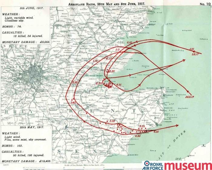 Gotha raid 5th June 1917 map