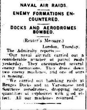 A3 Bruges air raid newspaper article