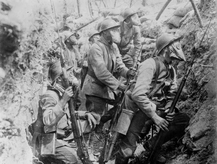 27.7a French soldiers wearing gas masks in a trench, 1917