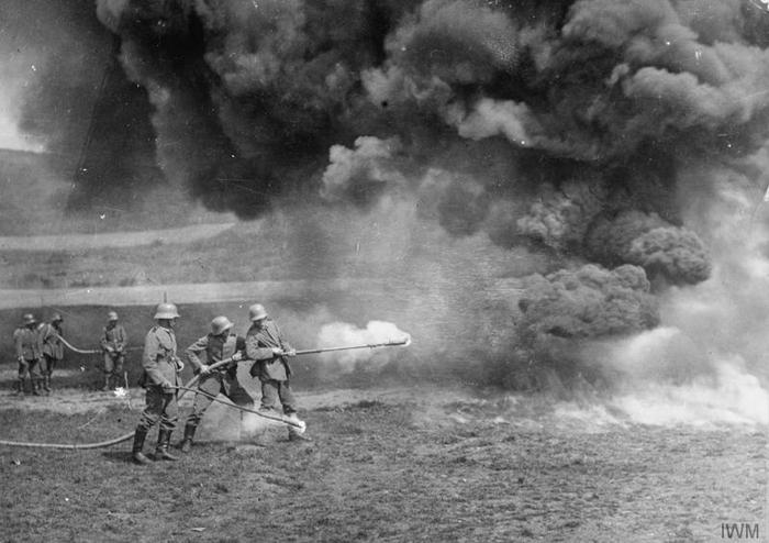 30.9.a German soldiers practising with a flamethrower