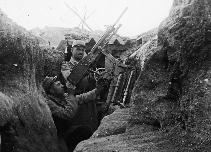 10.9.a A French soldier aiming an anti aircraft machine gun