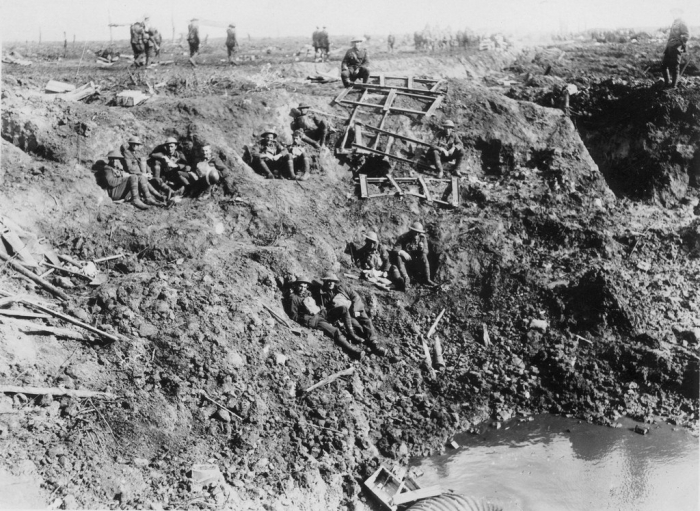 11.8.a New Zealand Engineers take a break at Ypres 1917