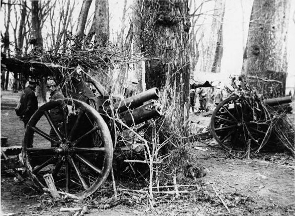 5.7a   2 camouflaged British 4.5 inch field howitzers on the Western Front, World War I.