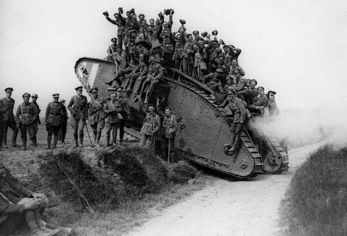 10.1.a British troops hitch a ride on a Mark IV