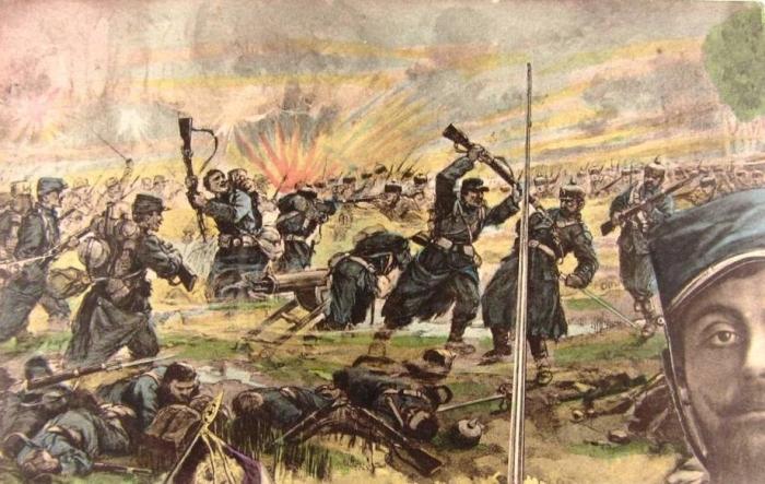 14.3a Carter postale en couleurs montrant une scène de guerre.