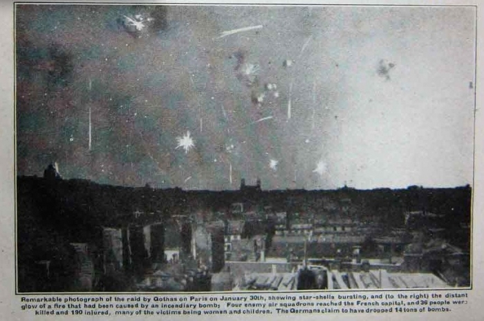 8.3b Star shells burst over Paris as French anti-aircraft batteries