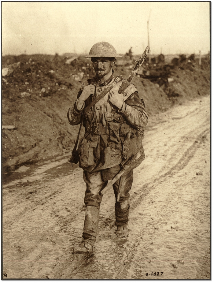 9.1.a A Canadian Tommy soldier covered in mud returning from the front lines