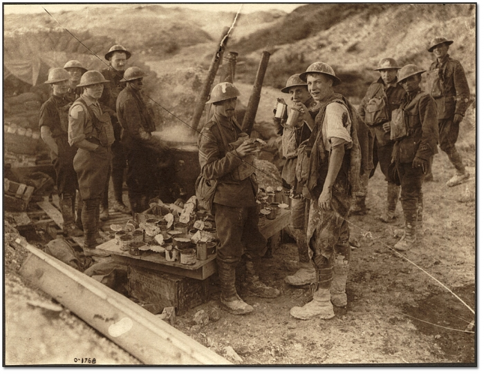 9.1.a A Canadian soldier badly wounded in his shoulder and leg drinking hot coffee