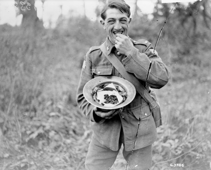 9.1.a A Canadian soldier enjoying the blackberries